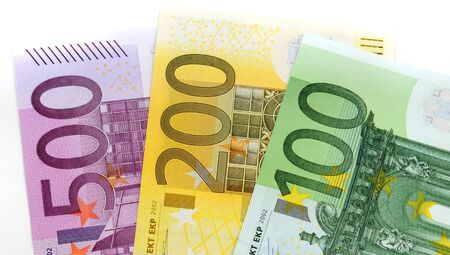 one hundred euro banknote: Euro-banknotes isolated on white Stock Photo