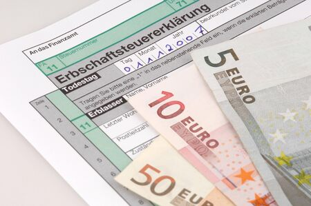 tax form: Tax form for the German inheritance tax ready to complete Stock Photo