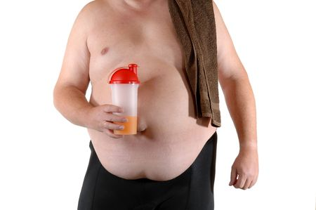 Fat man with drink photo