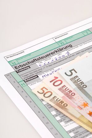 the inheritance: Tax form for the German inheritance tax ready to complete Stock Photo