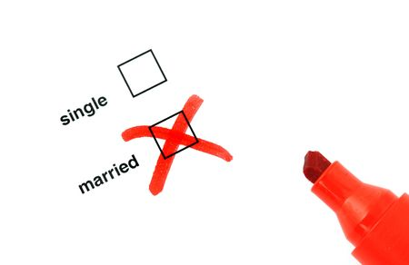 Checkbox for selection on white paper with red marker pen Stock Photo - 6632761