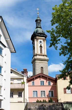 ordination: Traunstein is a little town in Upper Bavaria not far from the Chiemsee in front of the alpes. Pope Benedict XVI got his ordination in the church Stock Photo
