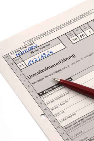 fill fill in: German tax form waiting to be completet