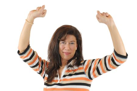 joyfull: Young woman looking optimistic