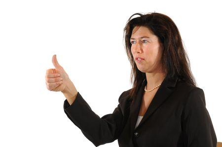 joyfull: Midaged woman looking optimistic Stock Photo