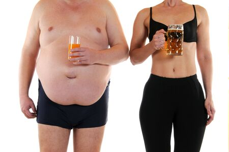 man in underwear: Young woman beneath a very fat man