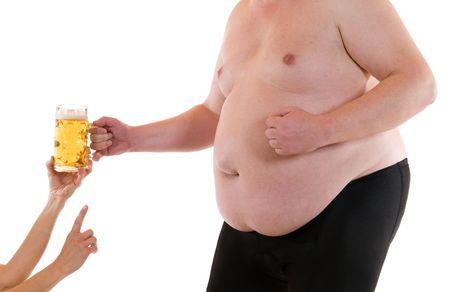 pancia grassa: Giovane donna sotto un uomo molto grasso