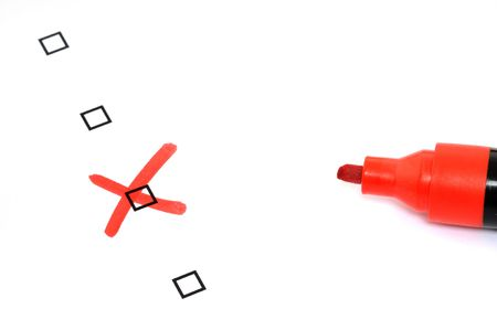 marker pen: Checkbox for selection on white paper with red marker pen