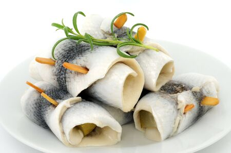 Herring, in Germany called Rollmops, ready to eat Stock Photo