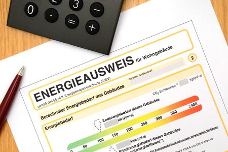 Energy performance certificate, like its used for german houses Stockfoto