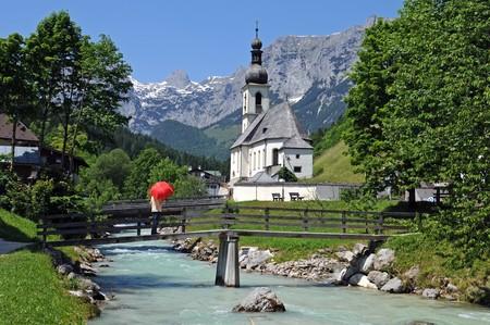 Church of Ramsau near Berchtesgaden with the Reiteralpe mountain