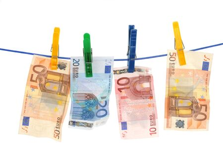 marketeer: Currency on a laundry line Stock Photo