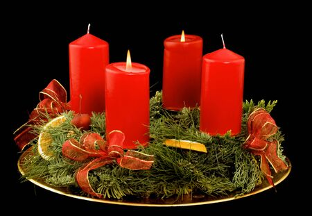 advent candles: Advent wreath with red candles Stock Photo