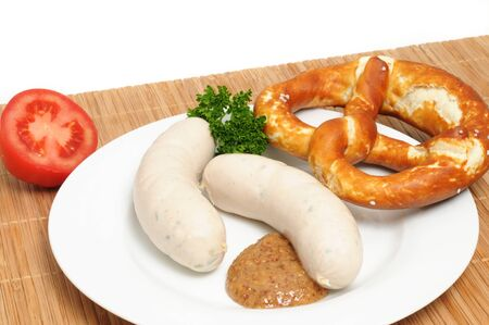 weisswurst: Bavarian breakfast with two veal sausages (Weisswuerste) Stock Photo