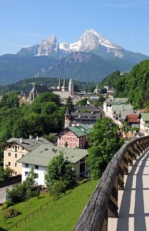 berchtesgaden: View of Berchtesgaden an the Watzmann Stock Photo