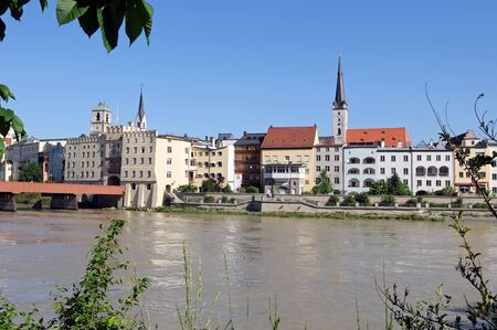 gabled: The old town of Wasserburg am Inn is situated on a peninsula of Inn River