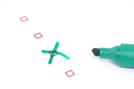 Checkbox for selection on white paper with green marker pen Stock Photo - 8097536