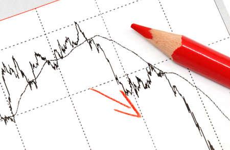 finanzen: B�rsenkurse in graphischer Darstellung mit Buntstift  Chart of an investment with crayon