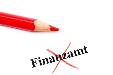 finanzen: Durchgestrichener Begriff Finanzamt  Crossed word Finanzamt means tax office