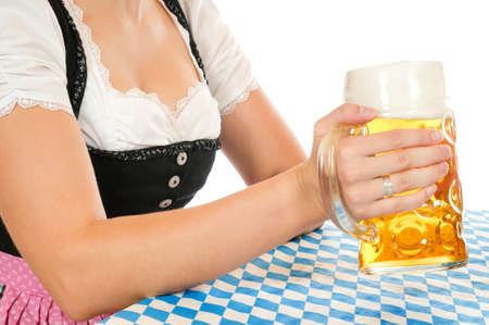 prosit: Woman with beer glass