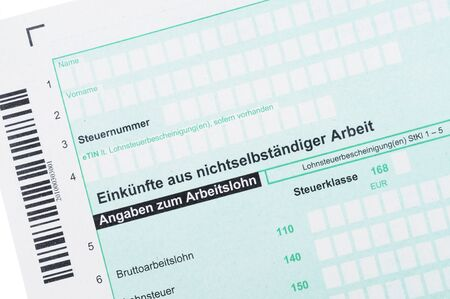 salaried: German tax form in front of a white background