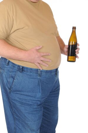 ombligo: FAT man aislado en blanco Foto de archivo