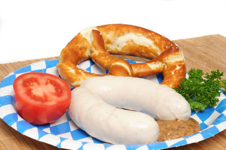 Bavarian breakfast with two veal sausages (Weisswuerste) photo