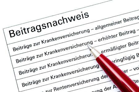 s�curit� sociale: D�claration de la contribution vers�e pour la s�curit� sociale allemande Banque d'images