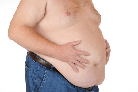 pot belly: Fat man isolated on white Stock Photo