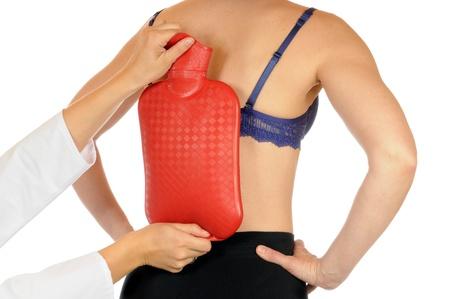 Young slim female has backache photo