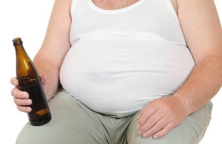 belly button: Hombre gordo aislado en blanco