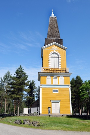 handout: The church tower of Siipyy in Finland, in swedish langage Sideby, is well known for its handout figurine Stock Photo