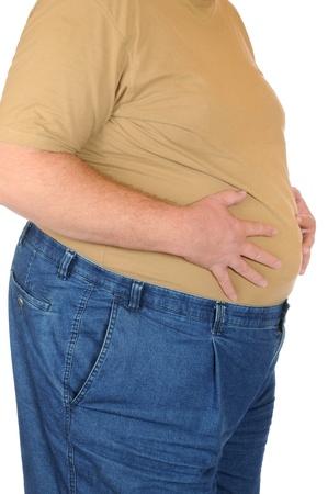 Fat man isolated on white Stockfoto