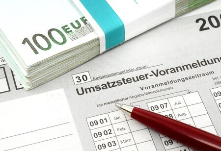tax form: German tax form for VAT-declaration Stock Photo