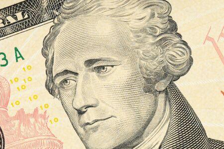 alexander hamilton: US-dollari-bill in un colpo di macro Archivio Fotografico