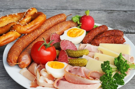 Selection of cold cuts on an old table Stock Photo - 10363542