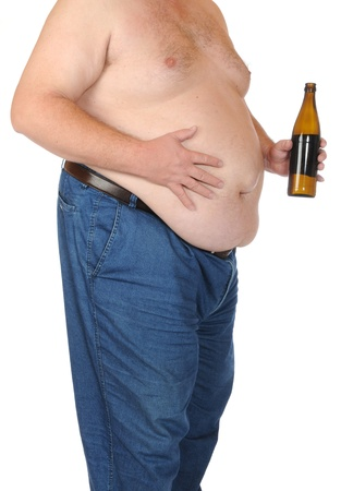 abdomens: Fat man isolated on white Stock Photo