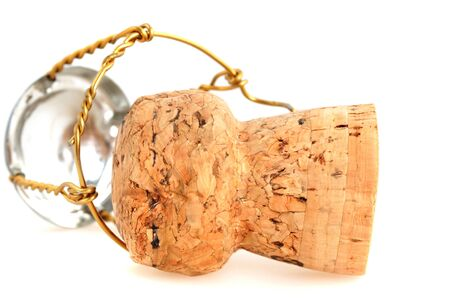 Champagne cork in front of a white background Stock Photo