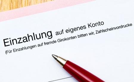 deposit slip: German banking, here a bank deposit slip