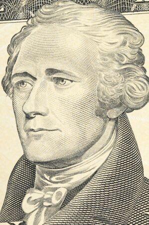 alexander hamilton: US-dollari-bill in una foto macro