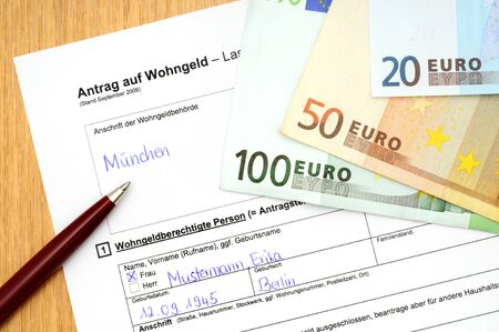 Application Form For Housing Allowance With Ballpoint-pen Stock ...