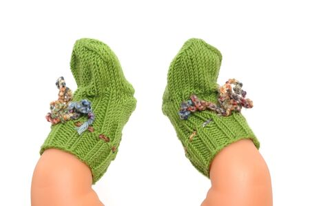 Wool-socks on white background photo