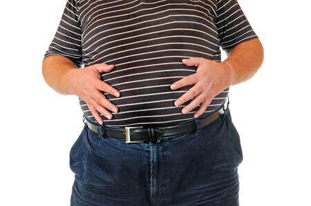 Fat man isolated on white Stock Photo