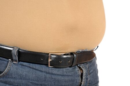 pot belly: Fat man in very tight jeans
