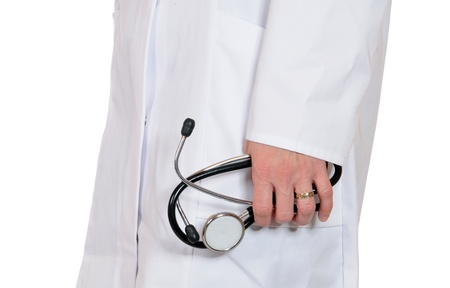 Doctor in lab coat with stethoscope photo
