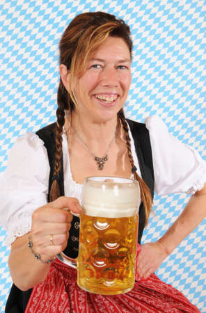 stein:  Woman with a Bavarian Dirndl and a beer stein