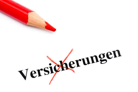 deselect: Crossed word Versicherung means insurance Stock Photo