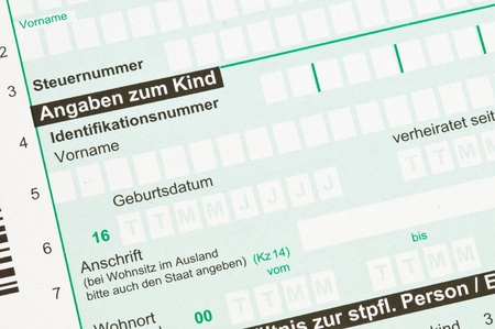 zahlen: German tax form for children allowance