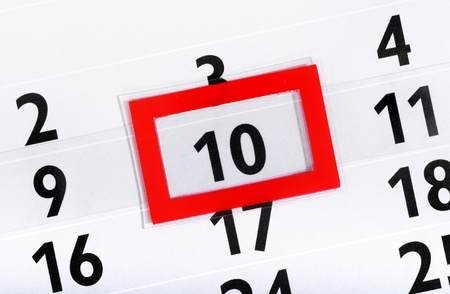 marked: Calender with marked 10th