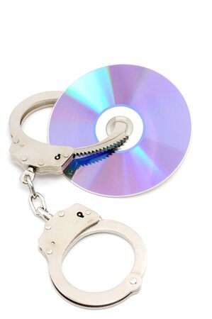 cd rw: CD with handcuffs as symbol for data protection